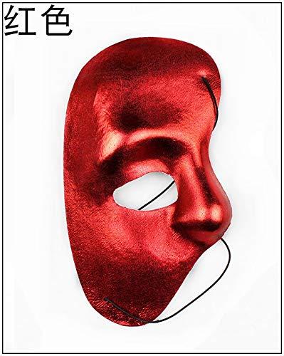 Ya1&Ya Halloween Männer Frau Venedig Prom Halbe Gesichtsmaske Opera Phantom Rechte Halbe Gesichtsmaske, rot
