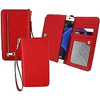 Emartbuy Rot PU Leder Kupplung Geldbörse Hülle Tasche sleeve ( Größe 3XL ) Mit Münzfach, Kartensteckplätze und Abnehmbare Handschlaufe Passend für Huawei P8 Lite 2017