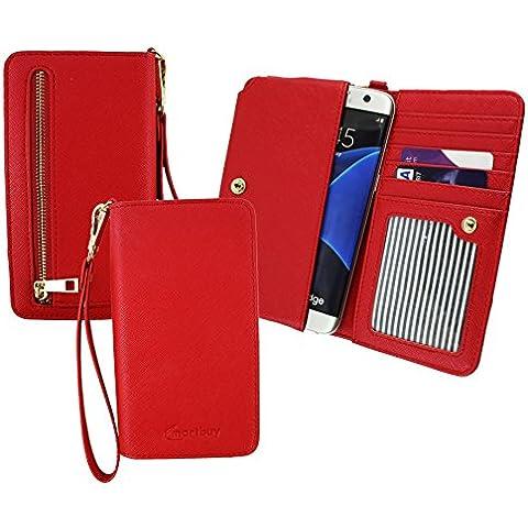 Emartbuy® Rojo Cuero PU Embrague Bolso Bolsa Manga Carcasa Case ( Talla 3XL ) Con Acuñar Bolsillo, Tarjeta Las Ranuras y Desmontable Muñeca Correa apto para MyWigo Magnum 2 Pro Smartphone 5 Inch