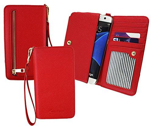 Emartbuy® Rot PU Leder Kupplung Geldbörse Hülle Tasche Sleeve (Größe 3XL) Mit Münzfach, Kartensteckplätze und Abnehmbare Handschlaufe Geeignet Für Slok C2 Dual SIM Smartphone