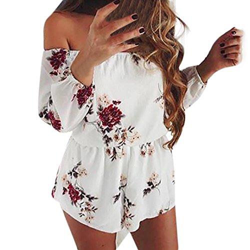 MRULIC Damen Sommer Jumpsuit Elegant Blumen Floral Shulterfrei Klied Playsuit Overall Romper mit Rüschen Weiß(Weiß,EU-38/CN-S)