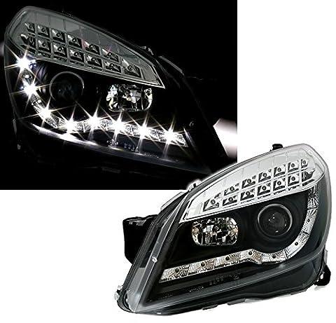 Scheinwerfer Set in Klarglas Schwarz, mit LED Blinker und LED Tagfahrlicht Optik