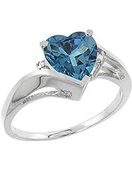 Revoni 14ct de oro blanco Natural de color topacio del anillo 7 mm acento de diamante