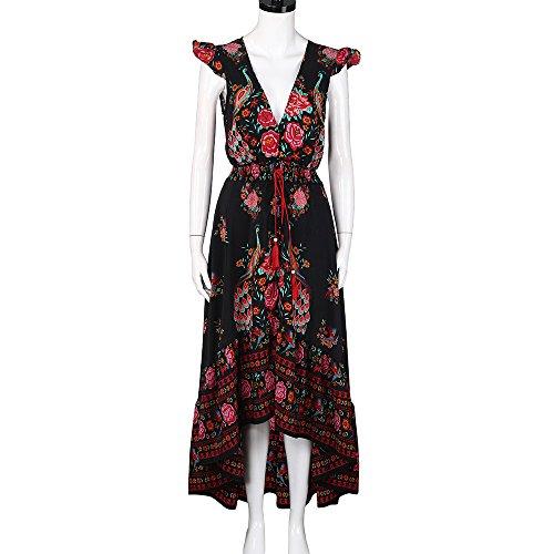 Holywin Damen Langarm Kleid mit tiefem V-Ausschnitt Bedruckt Cocktail Abendkleid Kleid -
