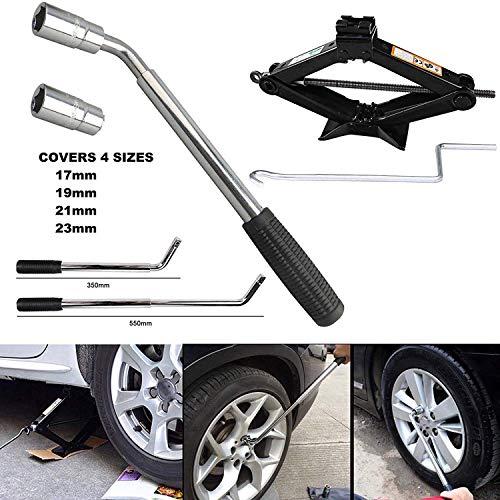 Clé de serrage universelle pour voiture - Douilles et ciseaux - Pour 17, 19, 21, 23 mm