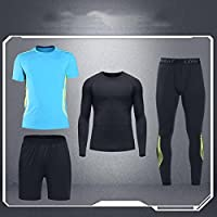 Fitness Athletic Mens 4 Pieces Clothing Set Quick Dry Clothing Set T-Shirt and Shorts Breathable Stretch