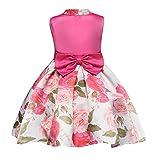 Yiiquanan Mädchen Ärmellos Kleid Prinzessin Festzug Kleider Partykleid Festlich Blumendruck Ballkleid mit Bowknot (Rose, Asia 150)