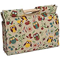 Hobby Gift MR4687/29 Owl Print on Natural Craft/Knitting Storage Bag 11x42x31½cm