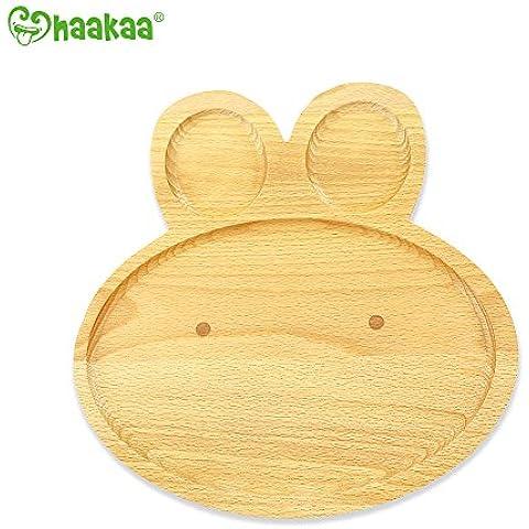 Haakaa Regalo de Navidad para bebé y niño plato de madera sin BPA 3 compartimientos la forma de