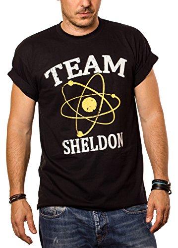 MAGLIETTA UOMO DIVERTENTI - Team Sheldon T-shirt Big Bang Theory nera M