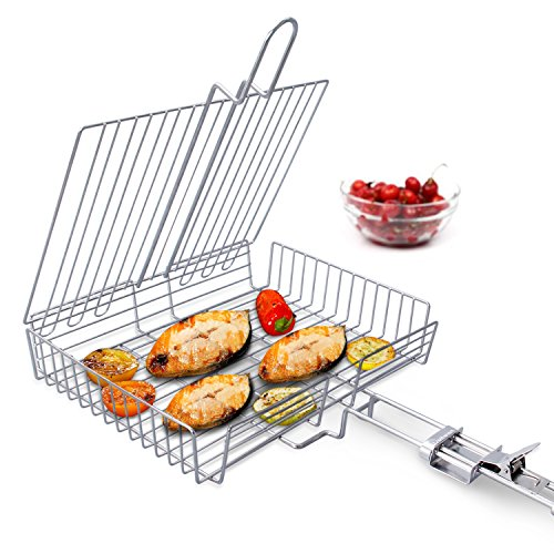 WolfWise Portable BBQ Fish Grilling Basket Grates, Extral Large Barbecue Burger Vegetable Sausage Food Meat Flip Foldable Rack Holder, 430 Stainless Steel 30 x 24 x 6 cm with Detachable Handle