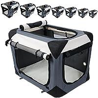 EUGAD Hundebox Hundetransportbox Auto Transportbox Reisebox Katzenbox Autobox Box mit Hundedecke Grau, L HT2059gr3
