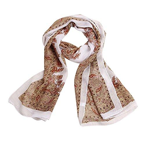 Familizo elegante bella tinta Sciarpa chiffon signora modo delle donne lungo morbida stola dello scialle dell'involucro Sciarpe (Beige)