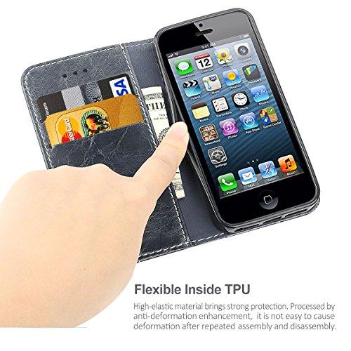 Coque Etui iPhone 5S Silicone Housse étui Portefeuille à rabat Cuir Fermeture Magnétique Protection iPhone 5 Case ecriture Béquille Coque SE en ultra slim anti choc pour Apple iPhone 5 5S SE bleu gris