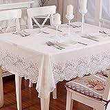 XCJ XCF Tischdecke, PVC, Wasserdicht Luxus Couchtisch rechteckig Runden Quadratischen Stoff weiß,A,Durchmesser: 18
