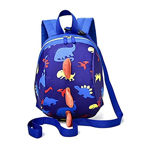 Toddler Baby Harness Backpack with Safety Anti-lost Strap, Yimoji Dinosaur School Bag Snack Lunch Bag (Dark Blue)