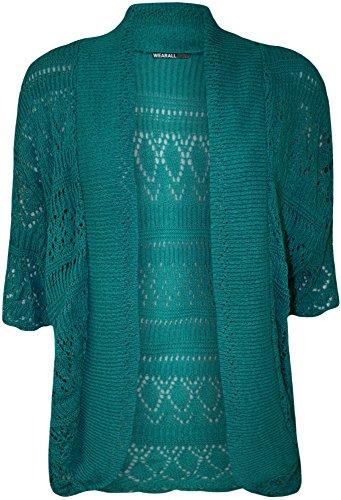 WEARALL Femmes Grande Taille Tricoté Crochet Court Manche Haut Haussement D'Épaules Dames Ouvert Cardigan - Hauts - Femmes - Tailles 42-58 Sarcelle