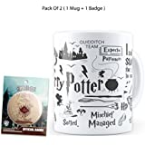 Mc Sid Razz Official Harry Potter Birthday Gift Set Combo Pack Of 2 | Black Mug + Marauder's Map Fridge Magnet With Bottle Opener | Licensed By Warner Bros, USA