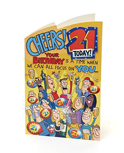 Hanson weiß 340439-0-2,5cm Funny Humor 21Today. Geburtstagskarte