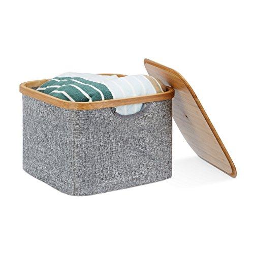 Relaxdays Aufbewahrungskorb Stoff, Aufbewahrungsbox mit Deckel, Regalkorb grau, Stoffbox, HxBxT: 25 x 33 x 33 cm, grey (Besteck Aufbewahrungsboxen)
