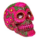 Nemesis Now Skull Sugar Crâne Sculpté Design Fleuri Coloré (Rose)