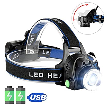 HOKEKI Headlamp, USB Rechargeable LED Head Lamp, Adjustable Headband 4 Modes Grade, IPX4 Waterproof for Jogging, Hiking, Dog Walking, Hunting 2