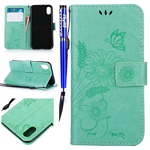 EUWLY Custodia In Pelle Per iPhone X, Retro Fiore farfalla Modello Design Cover Wallet Case Custodia In Pelle Portafoglio Lusso Libro Flip Cover Protettiva Con Cinturino Con Con Cinturino da Polso Sup farfalla,verde