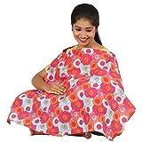 #4: Pure poplin soft and smooth printed baby nursery feeding apron/Feeding cloak - Orange Aop fabric