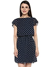 Marie Lucent Blue and White A Line Dress for Women in Georgette Fabric with Short Sleeve