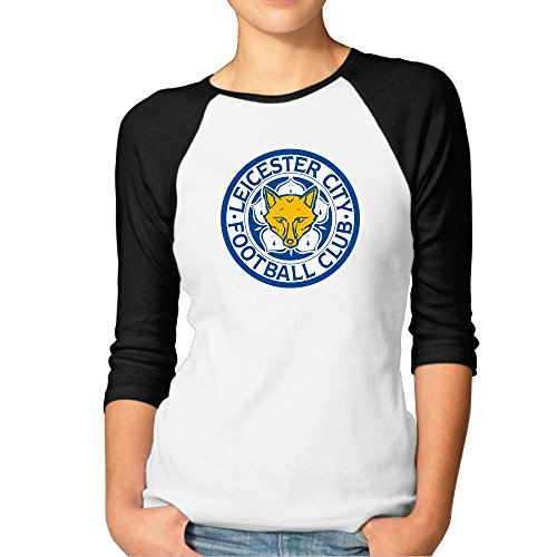 Damen Premier League Leicester City Raglan 3/4Dolce Vita Sleeve Shirt, Damen, schwarz Womens 3/4 Sleeve-jacke
