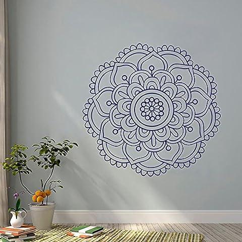 """Adesivo da parete mandala Yoga Studio in vinile decalcomanie parete decorazione Moroccan Pattern Fiore di Loto Namaste Home Decor bohemien camera da letto (22""""H 56W, colore: rosso fuoco)"""