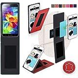 Funda para Goophone S5 en Cuero Rojo - Innovadora Funda 4 en 1-Anti-Gravedad para Montaje en Pared, Soporte de Tableta en Vehículos, Soporte de Tableta - Protector Anti-Golpes para Coches y Paredes sin necesidad de herramientas o pegamento - Funda de Reboon para Goophone S5 Original