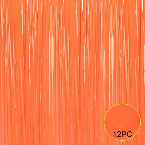 Folie Fransen Metallic Vorhang Hintergründen-mit Ballon Sticks 3ftx8ft Lametta glänzend Vorhänge Ideal für Foto Booth Party/Fenster/Tür Dekorative Fransen Vorhänge (5Bilder, Gold) 3x8 Orange (Silber-metallic Tisch Rock)