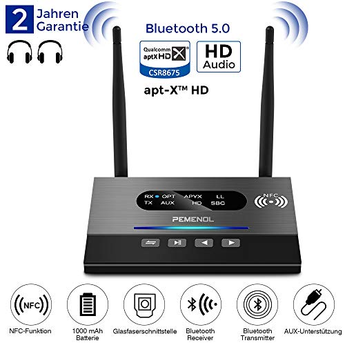 MEROURII Bluetooth Adapter Audio, 2-in-1 Bluetooth Transmitter & Empfänger, Fiber Wireless Sender Digitales Optisches Audiokabel und 3,5 mm Audiostecker, aptX HD, geringe Verzögerung RCA Nano Li-ionen-batterien