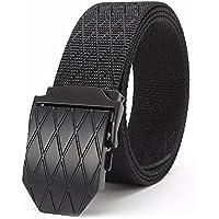 """ITIEZY Cinturón táctico, Hombre Cinturón de Nailon Estilo Militar Cinturón con Hebilla de Metal para Tactical Casual Outsoors Senderismo Wear, casual , Lenght: Up to 49.21""""(125cm), Black Buckle 3-Black Strap"""