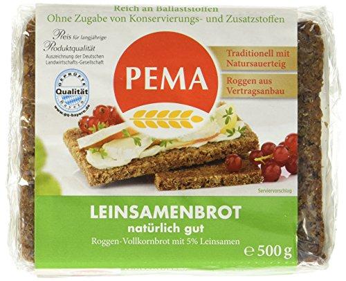PEMA  Leinsamenbrot 6x500g, Roggenvollkornbrot mit 5{f33b1853a561fa3cbc8cb908855951457f97892fe0a07a43cffa5642fedfb7f9} Leinsamen, 1er Pack (1 x 3000 g)