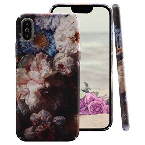 "ZXK CO iPhone X Hülle Hardcase, Ultra Dünn Hart Hülle Anti-Fingerabdruck, Anti-Scratch PC Plastik Schutz HandyHülle Matt Case Cover für Apple iPhone X 5,8\""-Blumen Muster"
