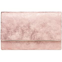 CASPAR TA381 Damen elegante Envelope Clutch Tasche / Abendtasche mit langer Kette, Farbe:rosa;Größe:One Size