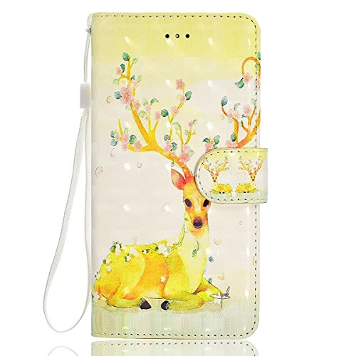 iPhone 6/6S Leather Case,iPhone 6/6S Coque Portefeuille,Hpory élégant Fashion 3D Design Colorful Painted with Lanyard PU Cuir Case Book Style Folio Stand Fonction Support PU Leather Walllet Case with  Cerf Sika