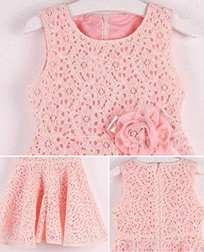 = YanHoo Ragazza Gonna Girls Dresses, Bow Senza Maniche Belle Principessa Abito Costumi Rosa Fiore Vestito (110, Rosa) prezzo