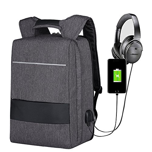 Laptop Backpack 17 Inch Waterproof, Mbuynow Travel Laptop Bag with USB Charging Port And AUX Jack 3.5mm, Anti-Theft, Compatible with Suitcase for Business / College / Women / Men (Grey)