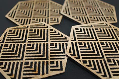 Buena Mexican Coasters Set von 4 Laser Cut Eiche Holz Geometrie Geometrisch -