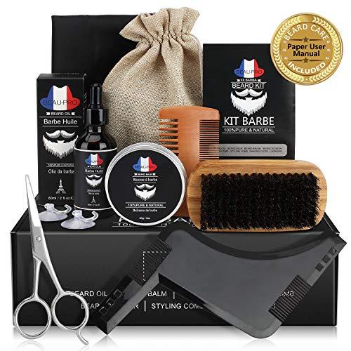 Bartpflege Set Geschenkset für Männer Bart Styling, 9 in 1 Bartpflege Bartwachstum Kit mit Bartöl(60ml), Bartbalsam(60g), PREMIUM Bartbürste, Bartkamm, Bartschere, Styling Werkzeug und BARTSCHÜRZE