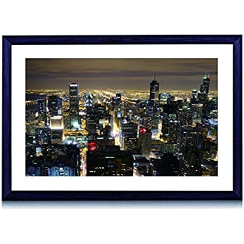 Beautiful Chicago Skyline di notte–Stampa artistica con cornice in legno nero da parete Foto in bianco e nero 40,6x 30,5cm Framed