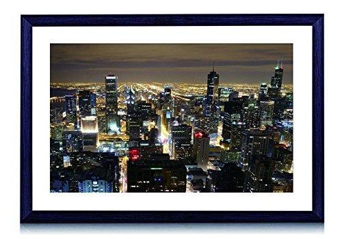 Beautiful Chicago Skyline di notte-Stampa artistica con cornice in legno nero da parete Foto in bianco e nero 40,6x 30,5cm Framed