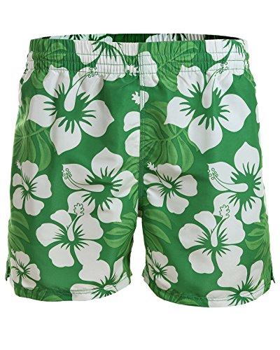 Pantaloncini da bagno da uomo/Oktoberfest costume da bagno Cool Casual: diversi colori di tendenza estate spiaggia 1101 - f4511 Grün/Weiß Hibiskus Design