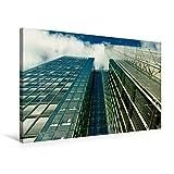 Premium Textil-Leinwand 75 cm x 50 cm quer, Spiegelnde Glassfassaden eines Hochhauses mit Himmelsblick   Wandbild, Bild auf Keilrahmen, Fertigbild auf mit spiegelnder Glasfassade (CALVENDO Orte)