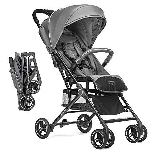 Hoco Buggy Kinderwagen Mikra - extra leichter Komfort Buggy mit Liegeposition und Einhand-Faltmechanismus, klein zusammenklappbar - Grau