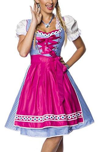 Schürze Kostüm Blau - Dirndl Kleid Kostüm mit Schürze Minidirndl mit Karomuster und ausgestelltem Rockteil Oktoberfest Dirndl pink rosa/blau/weiß M rosa