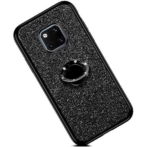 Preisvergleich Produktbild Felfy Kompatibel mit Huawei Mate 20 Pro Hülle Glitzer Glänzend Luxus Strass Handyhülle mit 360 Grad Ring Ständer Halter Diamant Schutzhülle Weich Silikon TPU Bumper Case Cover für Mädchen,Schwarz